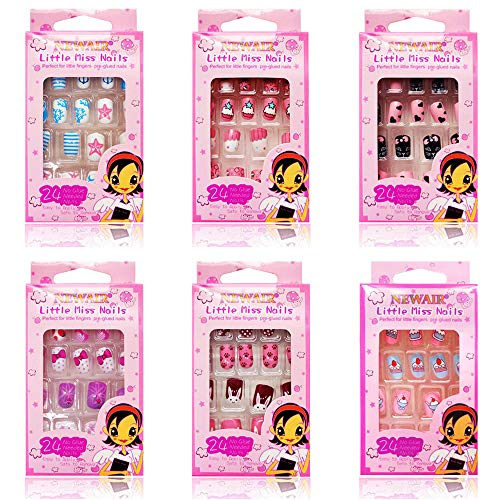 Kalolary 144 STÜCKE Kinder Fingernägel, Süßigkeiten Muster Kinder Kunstnägel Press on Nails Short Full Cover False Nail Set Künstliche Nail Tips Geschenk für Mädchen Nägel Geschenk