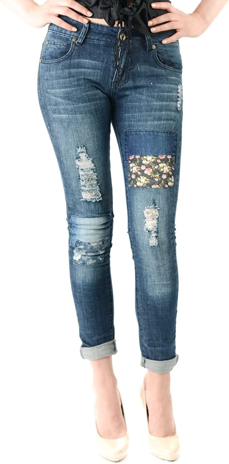 Exocet Women's Skinny Boyfriend Jean Rolled up Cuff Ankle Patched