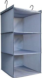 IsHealthy Organiseur de placard pliable à suspendre à 3 étagères, facile à monter, pour vêtements, sac à main, chaussures,...