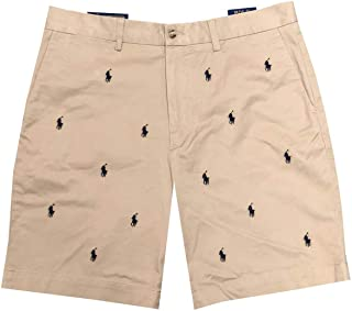 """Polo Ralph Lauren Mens Stretch Classic Fit Flat-Front 9"""" Pony Logo Chino Shorts"""
