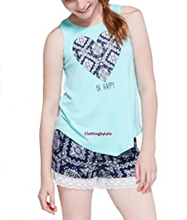 Justice Top Photoreal Cross Back Tank Flamingo Blue Teal