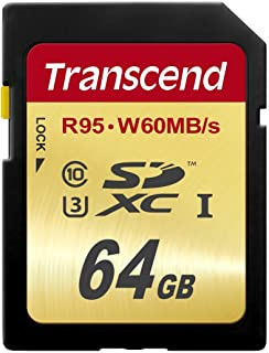 Transcend 64 GB High Speed 10 UHS-3 Flash Memory Card 95/60 MB/s (TS64GSDU3) (Renewed)