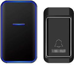 Geen batterij nodig Draadloze deurbel, zelfgenererende waterdichte draadloze deurbelkit 1 Ontvangers 1 drukknop 38 beltone...