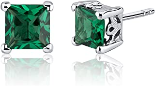 Simulated Emerald Princess Cut Stud Earrings Sterling Silver 2.00 Carats