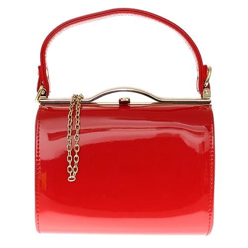 9d77b7d9fdec Girly HandBags Glossy Patent Faux Leather Clutch Bag Handle Closure Evening  Handbag