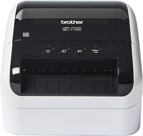 Brother QL-1100 Imprimante d'Étiquettes Industrielle - Grands Formats - Inclus 1 Rouleau DK11247 et 1 Rouleau DK22205