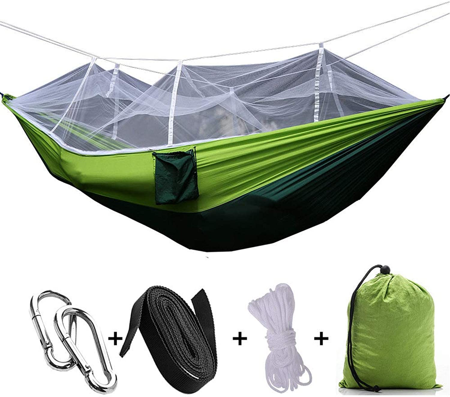 Widened and Extended Double Mosquito Net Hammock Camping Camping Aerial Tent 102.36X55.12In,Fruitgreendarkgreen