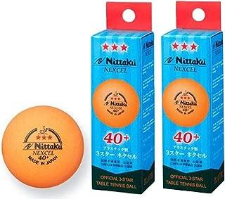 NITTAKU 6 Balls NEXCEL (Made in Japan), 40+ Orange 3 Stars Table Tennis Ball + Free Racket Protection Edge Tape