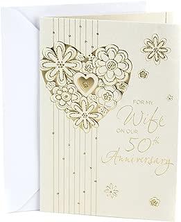 Hallmark 50th Anniversary Card for Wife (Foil Flower Heart)