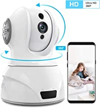 Home Security Camera Wi-Fi IP Camera, Wonbo Wireless HD 3MP Pan/Tilt/Zoom 2.4G with 2-Way Audio, Motion Detection, Night Vision, Remote Monitor for Baby Pet Elder, Supports ALEXA (Android/iOS) - White