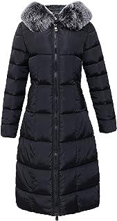 chouyatou Women`s Winter Windproof Padded Long Down Alternative Coat Faux Fur Hood