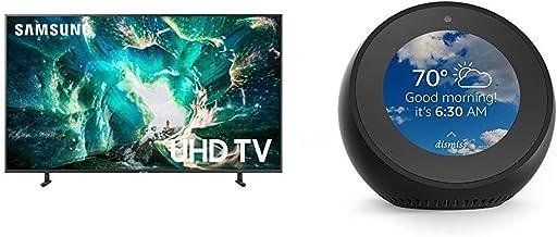 $1227 Get Samsung UN65RU8000FXZA Flat 65'' 4K UHD 8 Series Smart TV (2019) with Echo Spot - Smart Alarm Clock with Alexa - Black