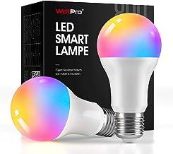 WdtPro Smart Ledlamp, E27, 2 stuks, 800 lumen, wifi, Alexa-gloeilampen met 16 miljoen kleuren, 2700-6500 K, dimbaar, compa...