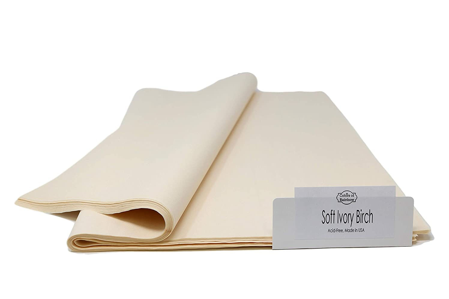 """Soft Ivory - 96 Sheets - Gift Wrapping Tissue Paper 15"""" x 20"""" - Made in United States by Colors of Rainbow?"""