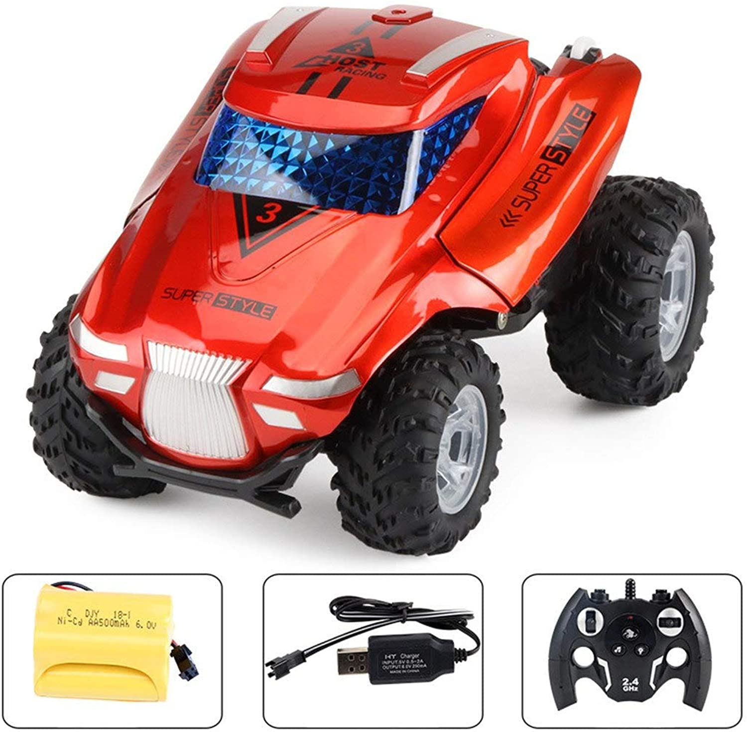 Generic HIINST 4WD Stunt Car High Speed Off Road 2.4G Remote Control Car Strong Power Motor Provides High Torque to Ensure JAN11 Red