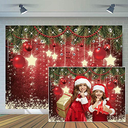 CYLYH 7x5ft Christmas Red Photography Backdrop Christmas Theme Backdrop New Year Decoration Background Family Party Baby Shower Decorations SDJ-503