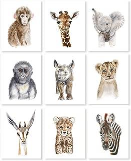 Safari Nursery Print Set of 9 Prints, Jungle Baby Animal Prints: Lion, Giraffe, Elephant, Zebra, Monkey, Cheetah, Gorilla, Antelope, Rhino - Selection of Alternate Animals and Sizes available