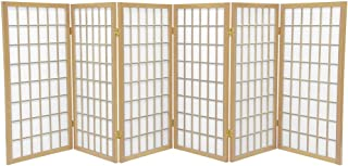 Oriental Furniture 3 ft. Tall Window Pane Shoji Screen - Natural - 6 Panels