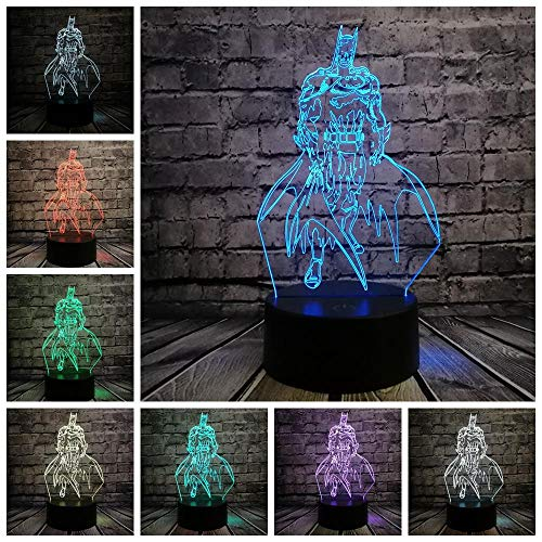 Zeichentrickfilm-Figur 3D RGB beleuchtet Batman LED Nachtlichthauptschlafzimmerdekorationjungengeschenk-Sichtillusionslampenkinder scherzt Geschenkspielwaren