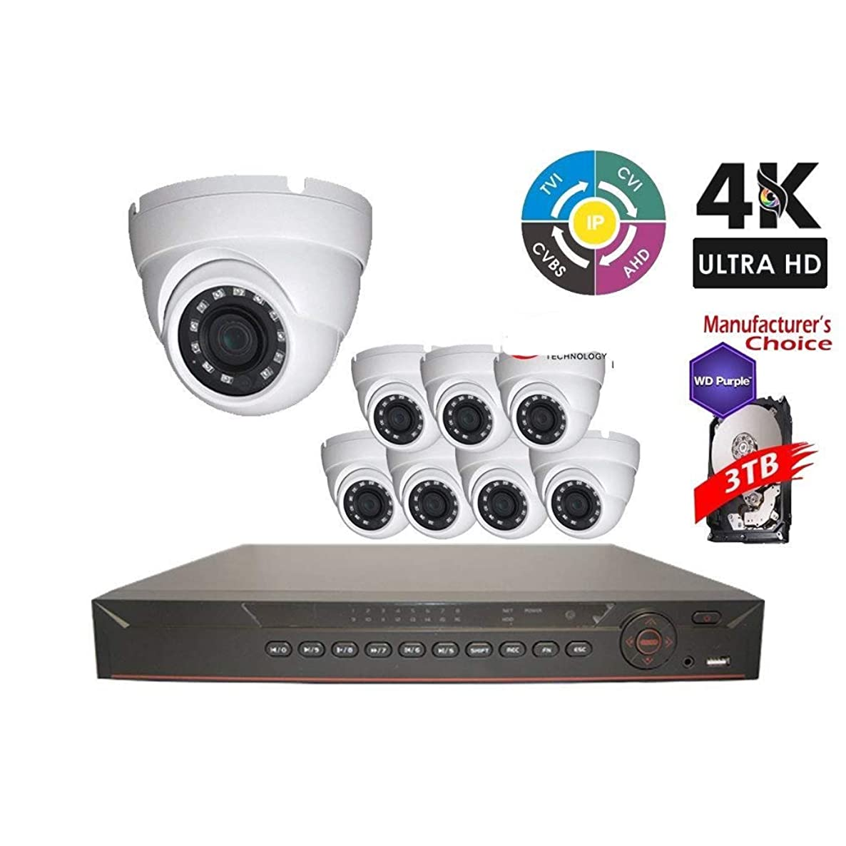 Dahua OEM Penta-brid 4K Security Package: 16CH 4K XVR5216-4K 5 in 1 (CVI TVI AHD IP and Analog) w/3TB Security Hard Drive+(8) 4MP Outdoor HDW1400 2.8MM Eyeball (NO LOGO OEM Local Support)
