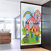 """W 17.7"""" x L 78.7"""" Window Film 3D Static Decoration Self Adhesive for Home Office Glass Door Sticker,Circus Scene with Clowns on Grass Rainbow Ferris Wheel Happy Bubbles Childhood Theme Multicolor"""