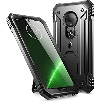Poetic Moto G7 Rugged Case with Kickstand, Full-Body Dual-Layer Shockproof Protective Cover, Built-in-Screen Protector, Revolution Series, DO NOT FIT Moto G7 Power Or Moto G7 Play, Black