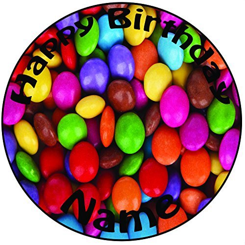 Personalisierter Smarties Zuckerguss Kuchen Topper / Kuchendekoration - 20 cm Großer Kreis - Jeder Name Und Jedes Alter