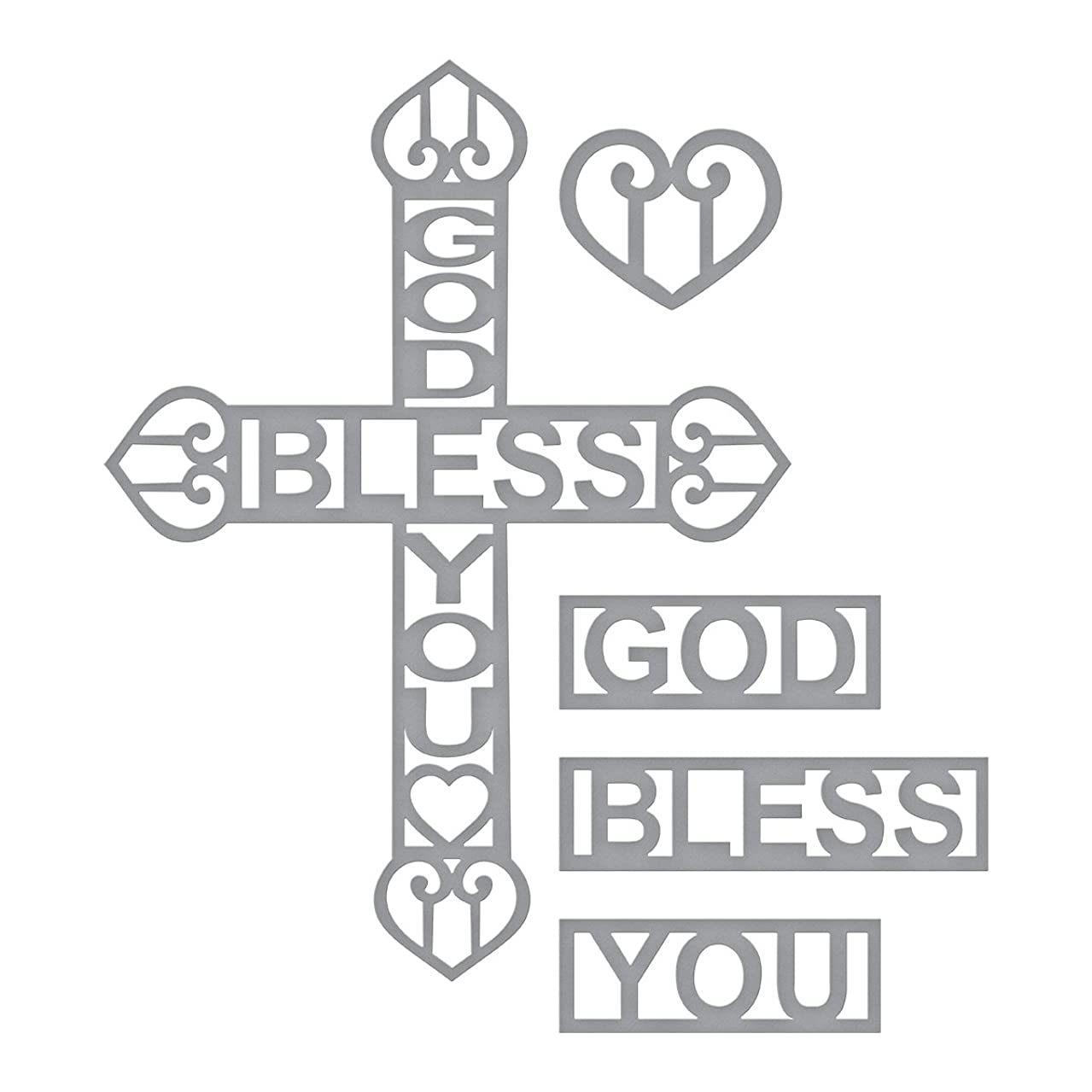 Spellbinders Shapeabilities God Bless You Cross Etched/Wafer Thin Dies