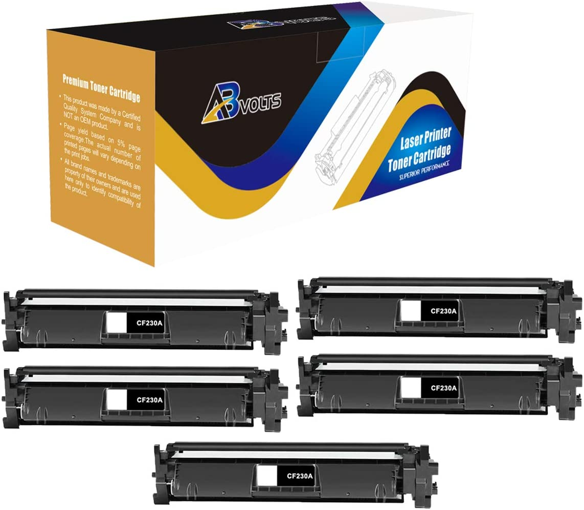 AB Volts Compatible High Yield Toner Cartridge Replacement for HP CF230X for Laserjet M203d M203dn M203dw MFP M227d MFP M227fdn MFP M227fdw MFP M227sdn Series Printers (Black,5-Pack)