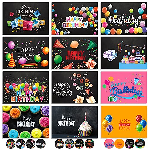 durony 24 Pack Birthday Cards Happy Birthday Greeting Cards with Envelope and Stickers 12 Designs Birthday Blank Greeting Cards for Women Men Birthday Gift Favors, Mixed Color