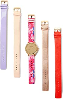 Laura Ashley Womens LASS1101YG Gold Case Floral Strap Heirloom Watch Set Interchangeable Straps
