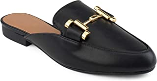 Details about  /Women/'s Leather Shoes Backless Slipper Loafer Flat Occident Britain Casual Retro