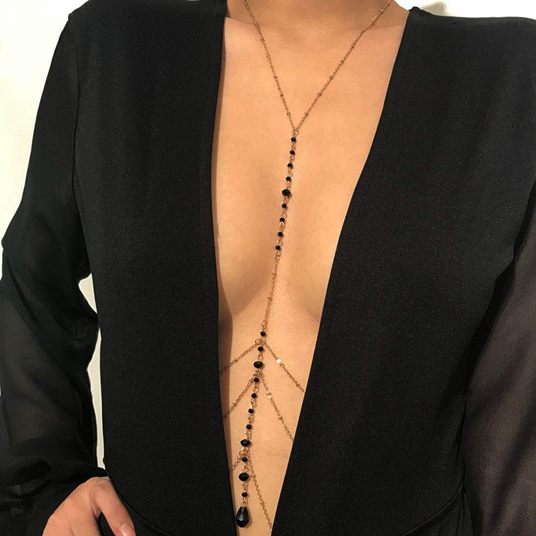 Navoky Rhinestone Body Chain Sexy Gold Body Chains Black Crystal Summer Beach Jewelry Accessories for Women and Girls