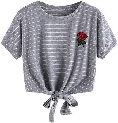 Camisas Mujer, Xinan Blusa de Mujer Sexy Tops Halter Apliques Rose Manga Corta Camisa Casual Chaleco