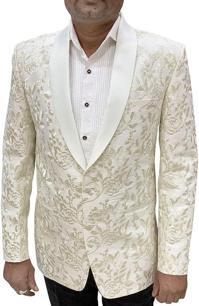 Boston Mall INMONARCH White Tampa Mall Embroidered Sport Jacket Shawl Coat Mens Collar