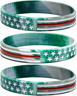 Camouflage Army Rubber Bracelets, Military Silicone Wristbands with American USA Flag in Army Green and Desert Camo for Army Party Favors, American Patriots, Army Sport Fans