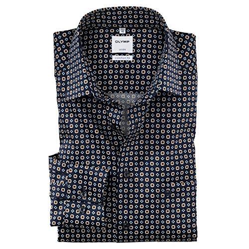 OLYMP Luxor Comfort fit Hemd Langarm New Kent Kragen Muster blau Größe 40