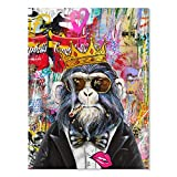 JAPO ART Smoking Orangutan with a Crown Funny Animal Modern Graffiti Monkey Art on Canvas Oil Painting Pop Wall Art Poster Print Picture for Living Room Home Decor