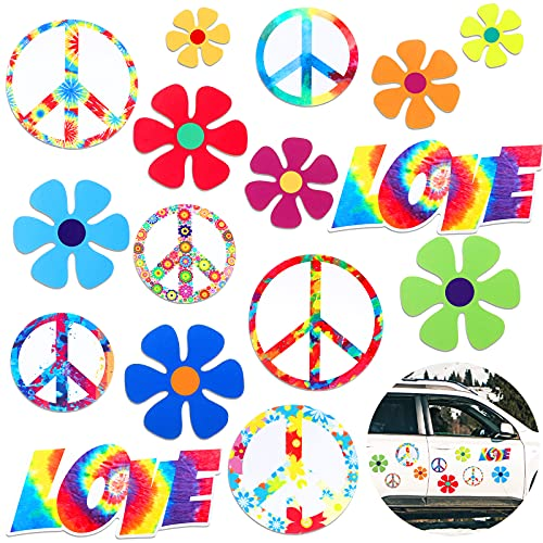 16 Pieces Car Magnet Decorations 60s Hippie Theme Party Magnetic Decals Fridge Magnets Flower Peace Car Magnetic Sticker Love Sign Colorful Hippie Decals for Car Refrigerator Mailbox Decor