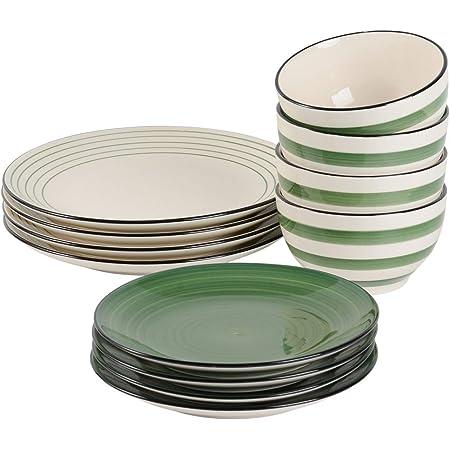ProCook Coastal - Service de Table en Grès - 12 Pièces/4 Personnes - Grande Assiette Plate/Assiette à Dessert/Bol - Glaçure Réactive - Vert