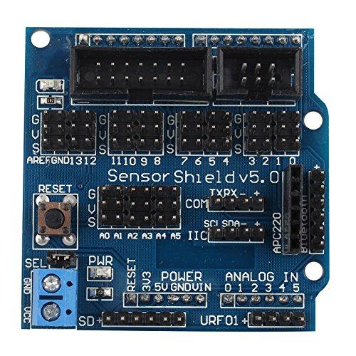 HALJIA Sensor Shield V5.0 Tarjeta de expansión Compatible con Arduino UNO Mega R3 Mega2560 Duemilanove Nano Robot módulo de expansión v5.0