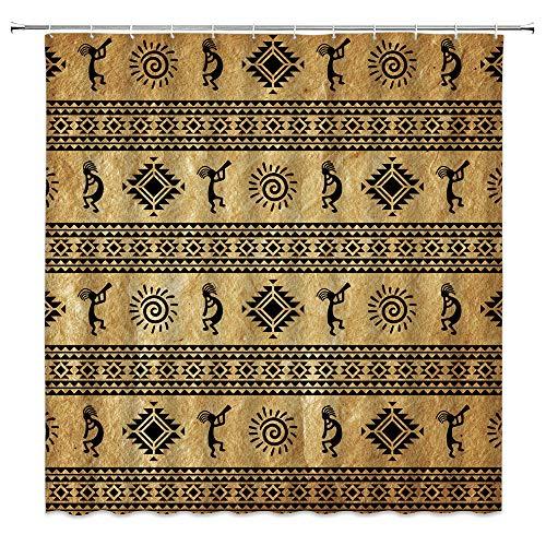 AMHNF Southwestern Duschvorhang Indianer Kokopelli ethnisches Traible Instrument geometrische Bordüre Retro Vintage Badezimmer Dekor Stoff Vorhang mit 12 Haken, 177 x 177 cm, schwarz braun