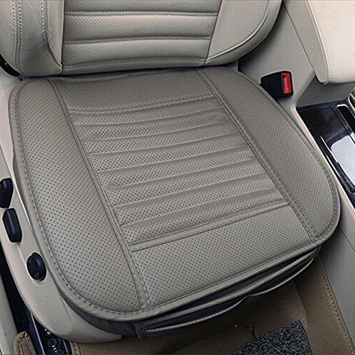 Cojín de asiento, protección del asiento de coche, cómodo y transpirable Cuatro estaciones generales Pu cuero Bambú carbón de leña transpirable coche interior (Gris)