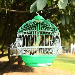 AZXAZ Jaula Redonda de Alambre de Metal para pájaros con asa ...