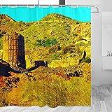 España Monumento India Cartagena cortina de ducha viaje baño decoración conjunto con ganchos poliéster 72x72 pulgadas (YL-05383)
