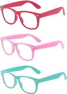 3 Pack Kids Children Nerd Retro Clear Lens Eye Glasses Age 3-10