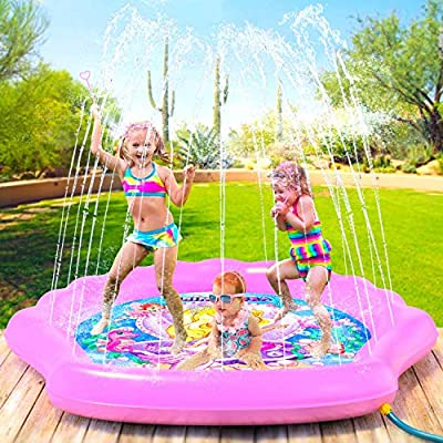 "PRINCESSEA Splash Pad for Girls, XL 78"" Outdoor Mermaid Children's Water Pad, Wading Pool & Sprinkler for Kids - Inflatable Kiddie Swimming Pool, Water Toy for Babies and Toddlers 12 Months & Up"