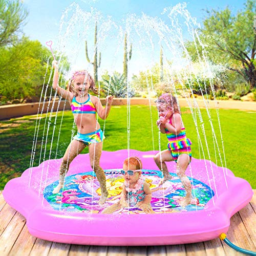 PRINCESSEA Splash Pad for Girls, XL 70' Outdoor Mermaid Children's Water Pad, Wading Pool &...