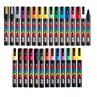 Uni Posca Paint Marker FULL RANGE Bundle Set , Mitsubishi Poster Colour ALL COLOR Marking Pen Medium Point ( PC-5M ) 29 Colours ( 22 Standard & 7 Natural ) Japan Import