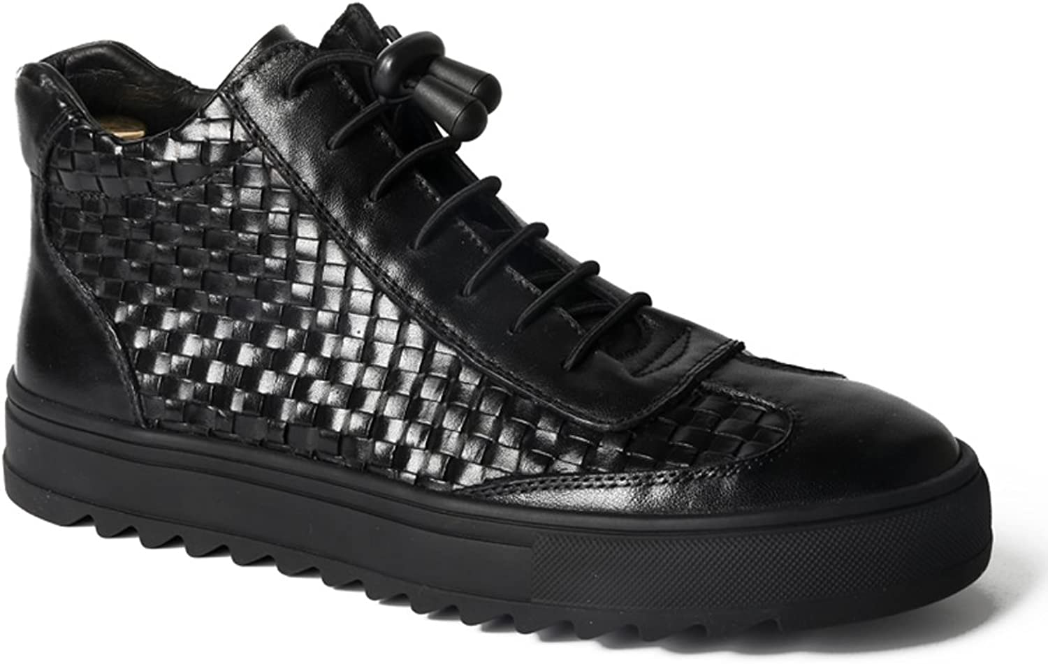 MedzRE Men's Check Detail Punk High shoes Casual Sneakers in Black Leather